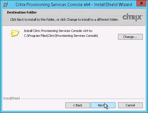 Console destination folder