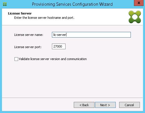 Enter Licensing server information