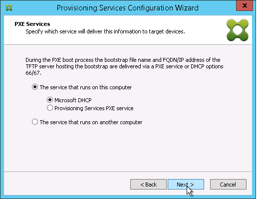 PXE Services - DHCP runs locally
