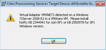 Citrix Provisioning Services issues with VMWare hardware version 10