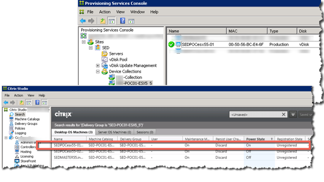PVS Console and XenDesktop Studio status